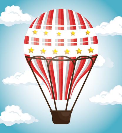 balloon air hot travel vector illustration design Ilustrace