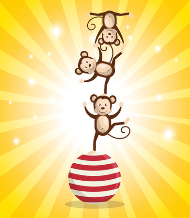 monkeys circus show icons vector illustration design