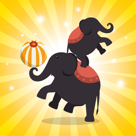 elephant circus show icons vector illustration design