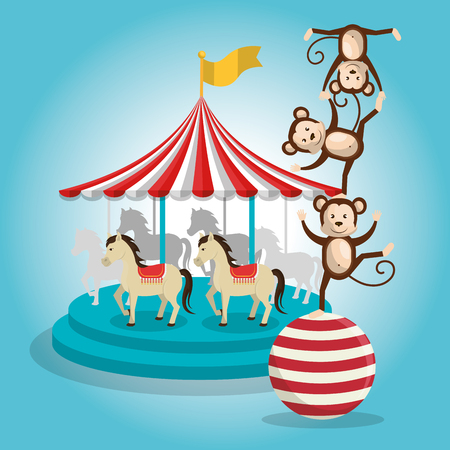 monkeys and carousel circus show vector illustration design