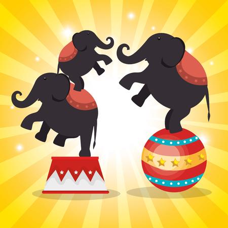 elephant circus show icons vector illustration design
