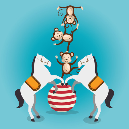 monkeys and horses circus show vector illustration design