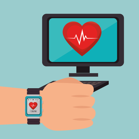 smartwatch with healthy lifestyle icons vector illustration design