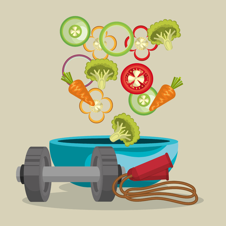 Iconos de alimentos saludables y fitness, diseño de ilustraciones vectoriales