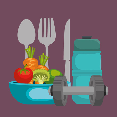 healthy food and fitness icons vector illustration design