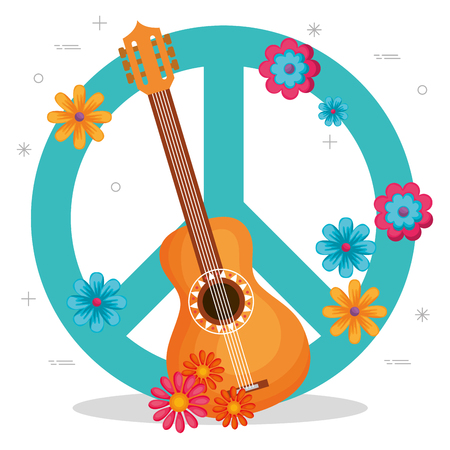 guitar with flowers hippie culture vector illustration design 矢量图像
