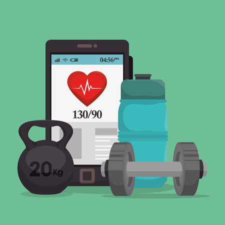 smartphone with healthy lifestyle icons vector illustration design