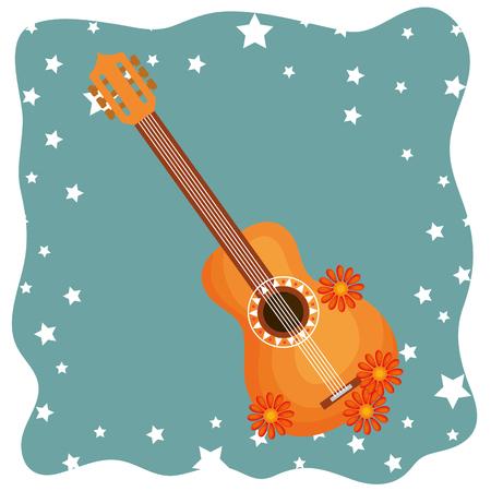 guitar with flowers hippie culture vector illustration design Ilustração