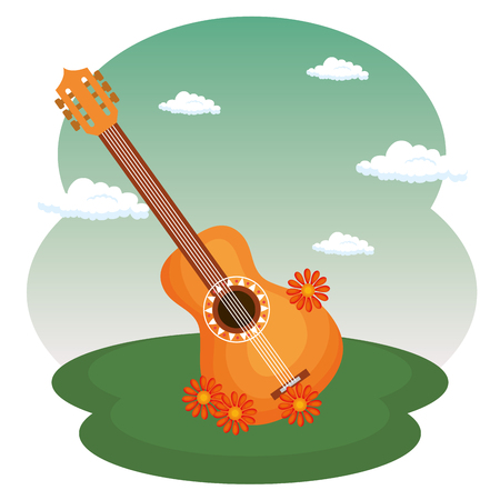 guitar with flowers hippie culture vector illustration design 向量圖像