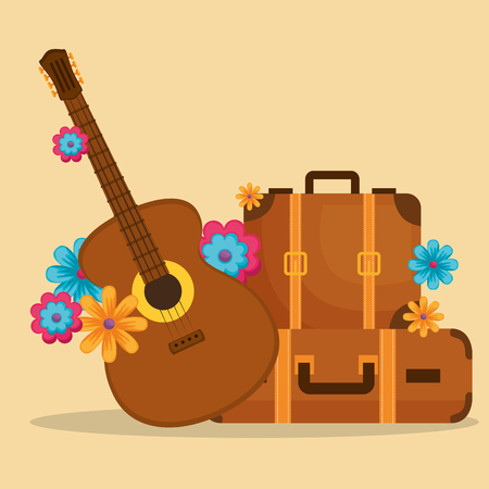 chitarra con fiori hippie cultura illustrazione vettoriale design Vettoriali