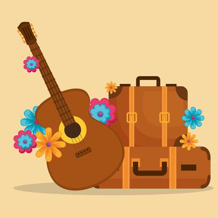 Guitarra con flores, diseño de ilustraciones vectoriales de la cultura hippie Ilustración de vector
