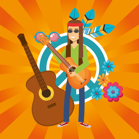 man hippie with guitar lifestyle character vector illustration design Illusztráció