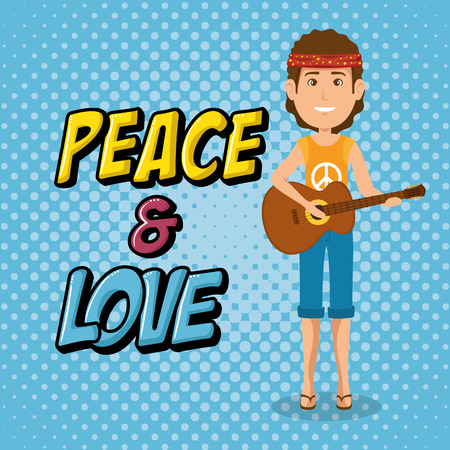 man hippie with guitar lifestyle character vector illustration design