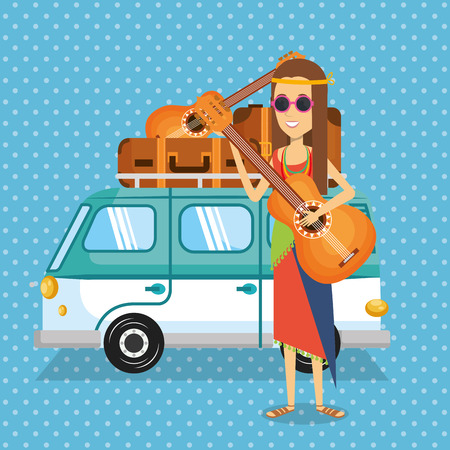 woman hippie with guitar lifestyle character vector illustration design