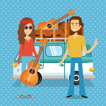 couple hippies playing guitar lifestyle characters vector illustration