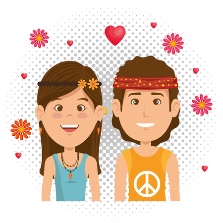 couple hippies lifestyle characters vector illustration design  イラスト・ベクター素材