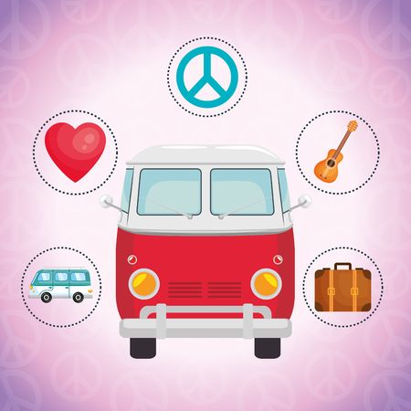 van hippie culture style vector illustration design