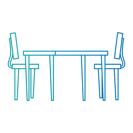 wooden table with chairs vector illustration design  イラスト・ベクター素材