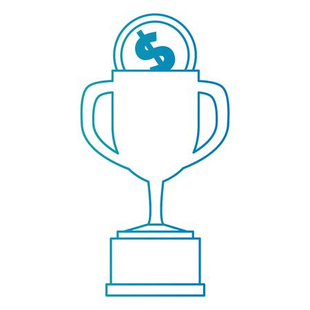 trophy cup with coin vector illustration design Ilustração