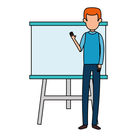 man teaching with paperboard character vector illustration design