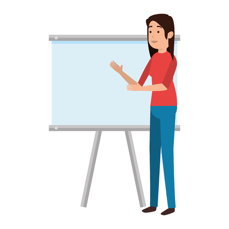 woman teaching with paperboard character vector illustration design  イラスト・ベクター素材