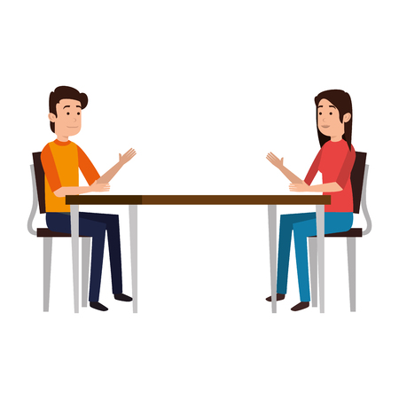 couple talking at table vector illustration design