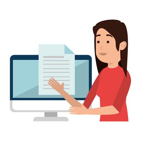Mujer enseñando en diseño de ilustración de vector de personaje de computadora
