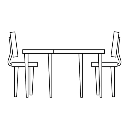 wooden table with chairs vector illustration design Archivio Fotografico - 110300397