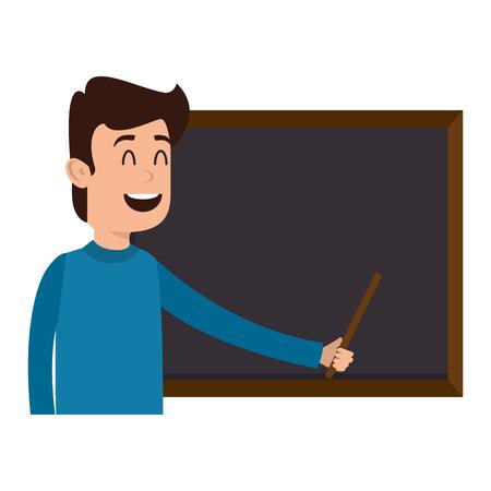 Homme enseignant avec la conception d'illustration vectorielle caractère tableau