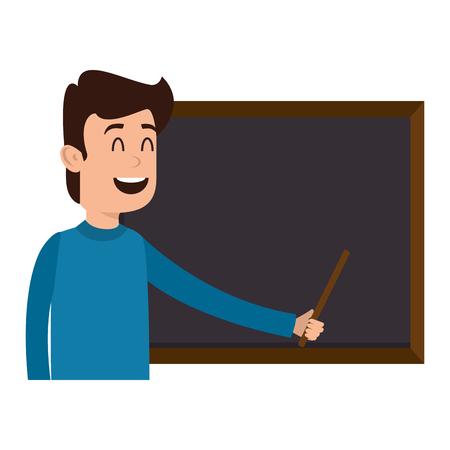 man teaching with chalkboard character vector illustration design