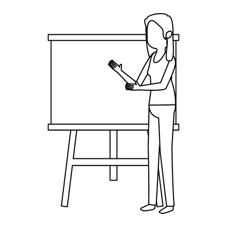 woman teaching with paperboard character vector illustration design