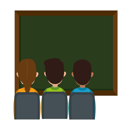 students class with chalkboard vector illustration design Foto de archivo - 110300435