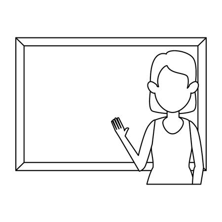 femme, enseignement, à, tableau, caractère, vecteur, illustration, conception