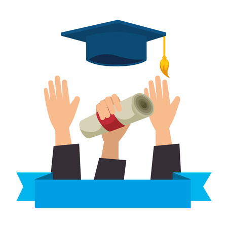 throwing hand with graduation diploma and hat vector illustration Stock Illustratie
