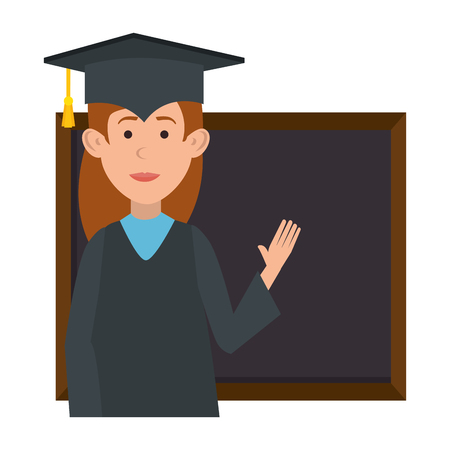 woman student graduated with chalkboard vector illustration design