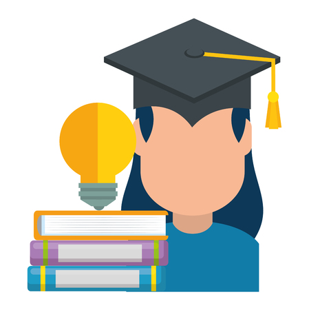 woman student graduated with books and bulb vector illustration Çizim