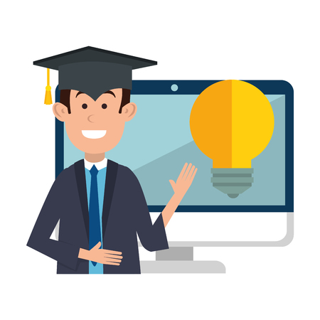 student graduated with computer and bulb vector illustration design