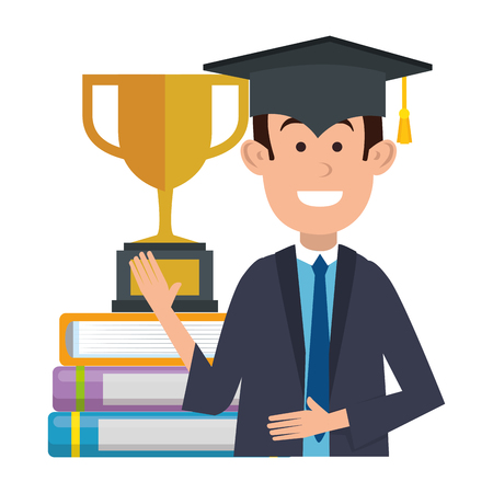 student graduated with trophy and books vector illustration design
