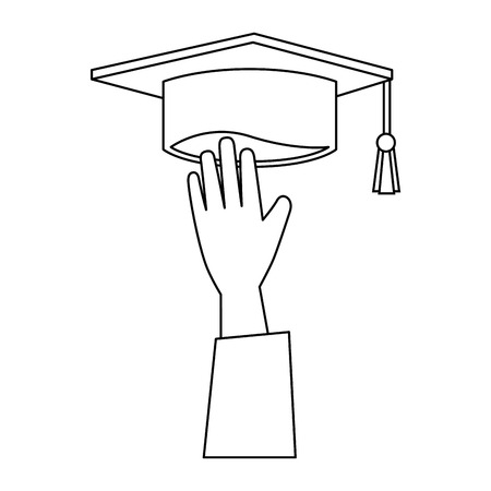hand with graduation hat vector illustration design Ilustração
