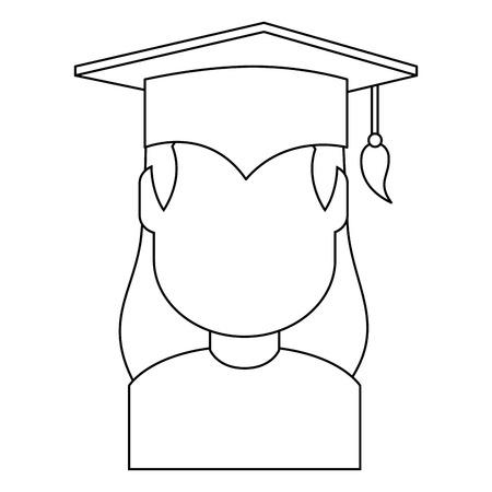 woman student graduated avatar character vector illustration design