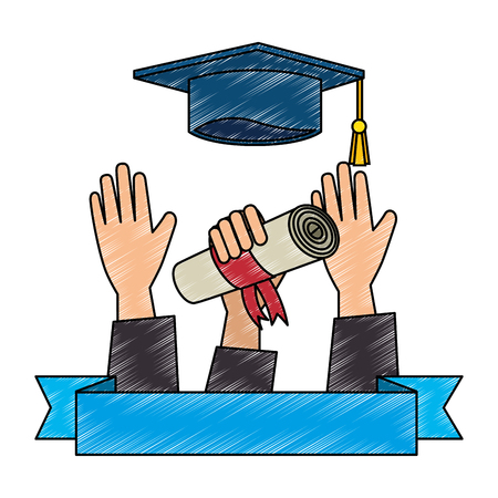 throwing hand with graduation diploma and hat vector illustration 向量圖像