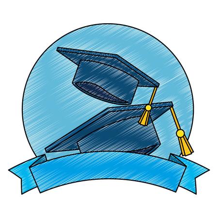 Chapeaux de graduation avec conception d & # 39; illustration vectorielle ruban Vecteurs