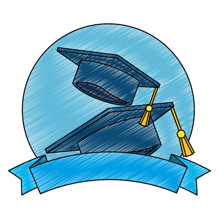 graduation hats with ribbon vector illustration design