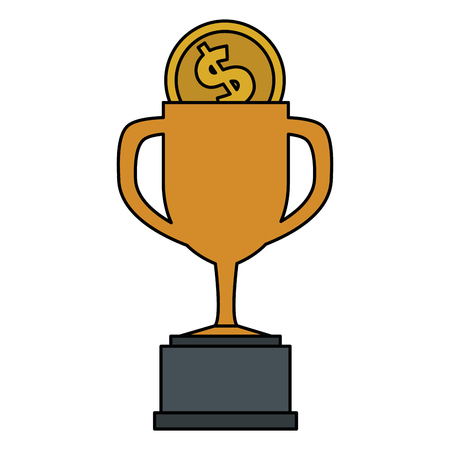 trophy cup with coin vector illustration design  イラスト・ベクター素材