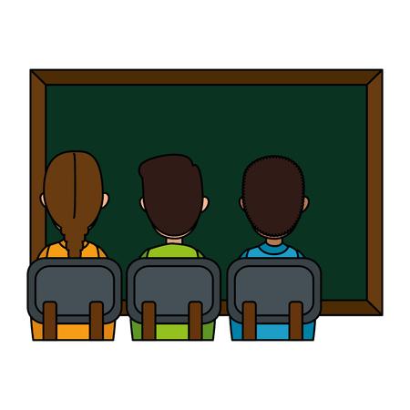 students class with chalkboard vector illustration design Foto de archivo - 110300532