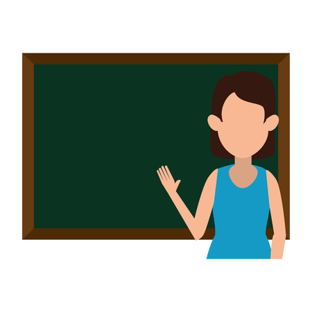woman teaching with chalkboard character vector illustration design