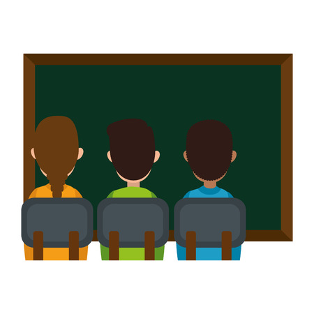 students class with chalkboard vector illustration design Banque d'images - 110300542