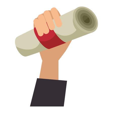 hand human with graduation diploma vector illustration design