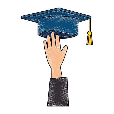 hand with graduation hat vector illustration design 写真素材 - 107676125