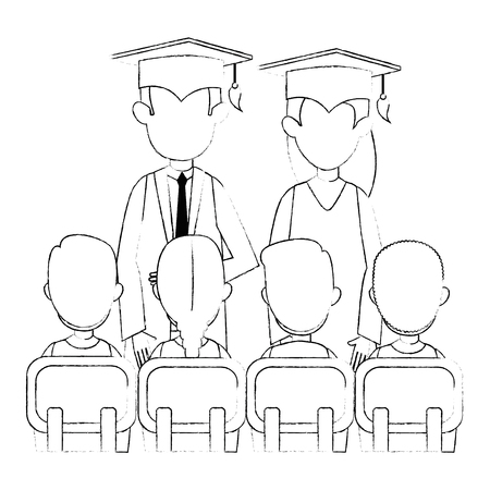 couple students graduated with class vector illustration design Illustration